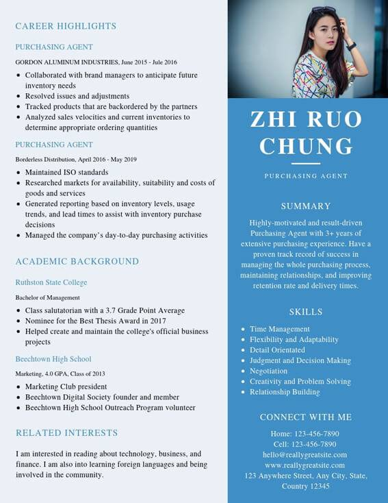 purchasing agent resume samples templates pdf word resumes bot example for mba finance Resume Purchasing Agent Resume