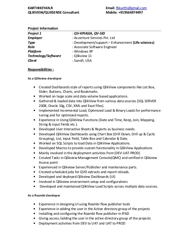 qlikview resume developer sample for refrigeration and airconditioning mechanic treasury Resume Qlikview Developer Resume Sample