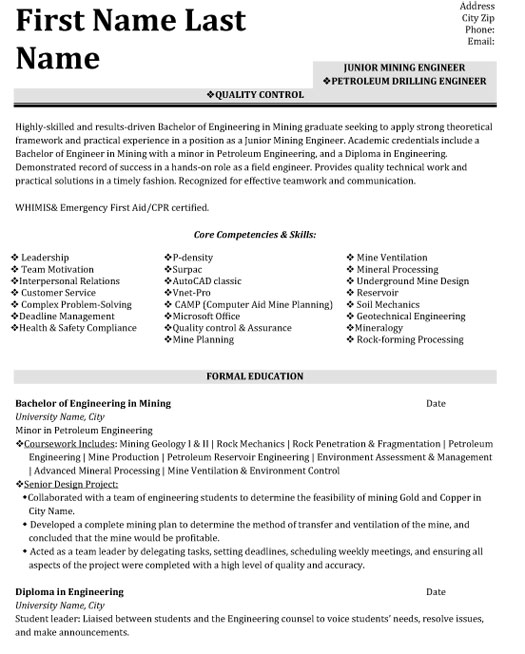 quality control engineer resume sample template geotechnical min skills for medical Resume Geotechnical Engineer Resume