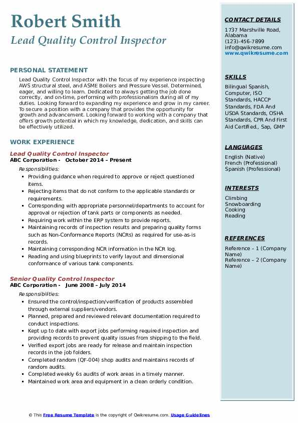 quality control inspector resume samples qwikresume example pdf sample for clinical Resume Quality Control Inspector Resume Example