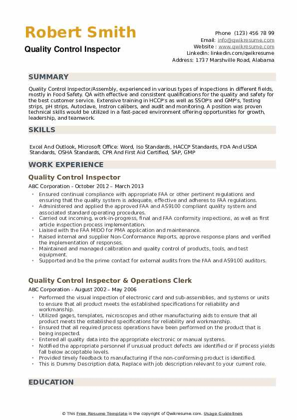 quality control inspector resume samples qwikresume example pdf teacher interview and Resume Quality Control Inspector Resume Example