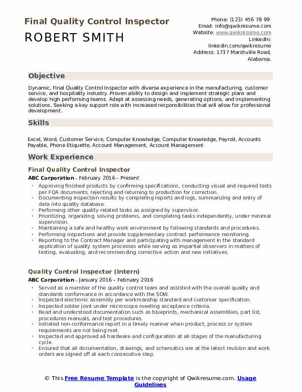 quality control inspector resume samples qwikresume example pdf wpm test for professional Resume Quality Control Inspector Resume Example