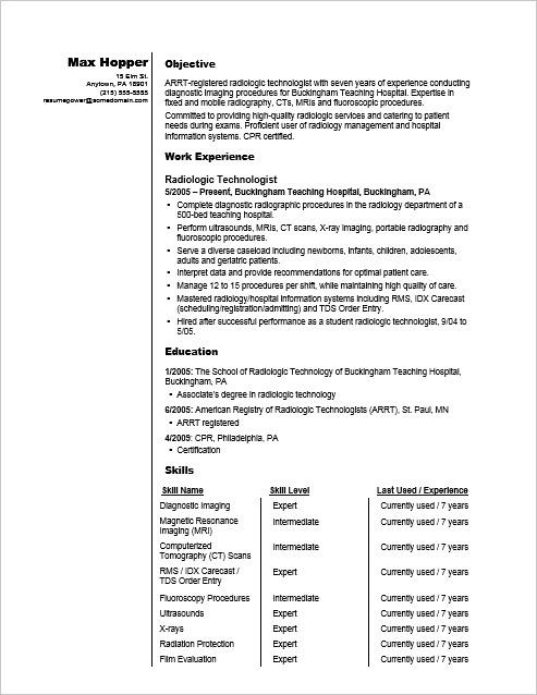 radiographer resume sample monster technician radiologic technologist search for Resume X Ray Technician Resume