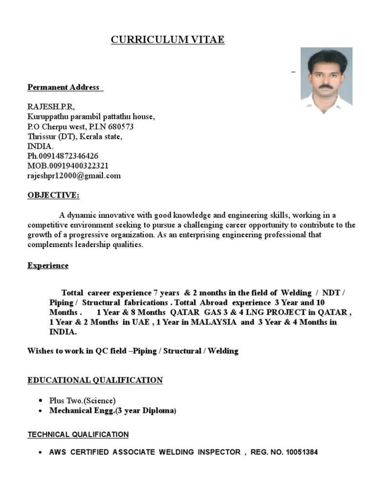 rajesh resume for qa qc piping and welding inspector construction ndt sample entry level Resume Ndt Inspector Resume Sample