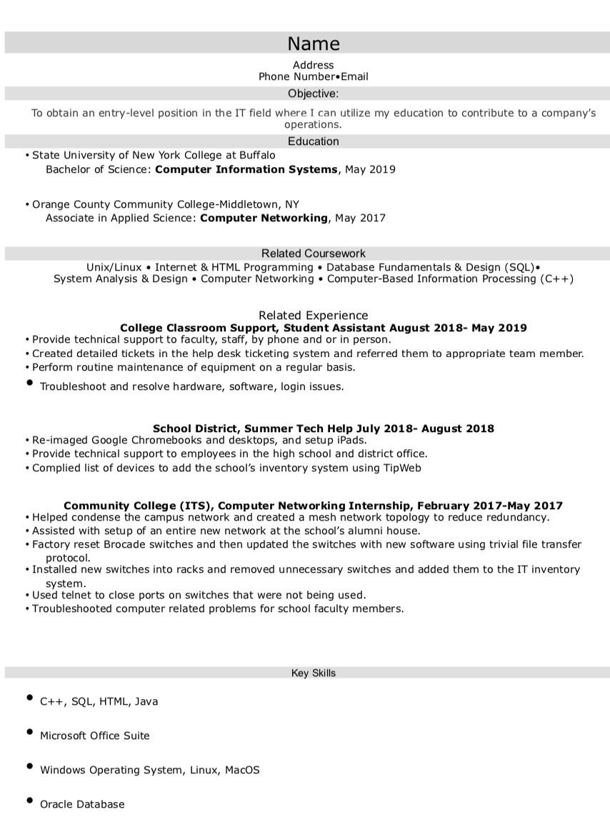 recent college graduate looking for entry level it help desk postion resumes resume Resume College Graduate Resume