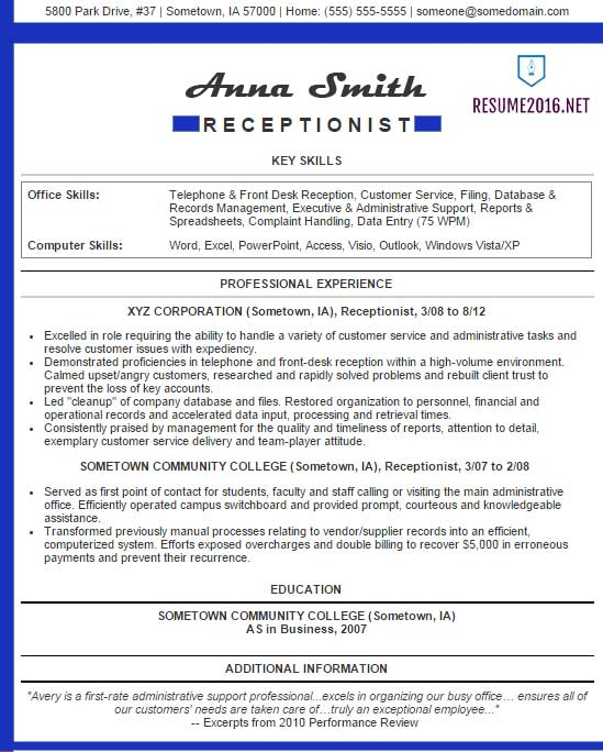 receptionist resume examples administrative example blue abilities for planning engineer Resume Administrative Receptionist Resume