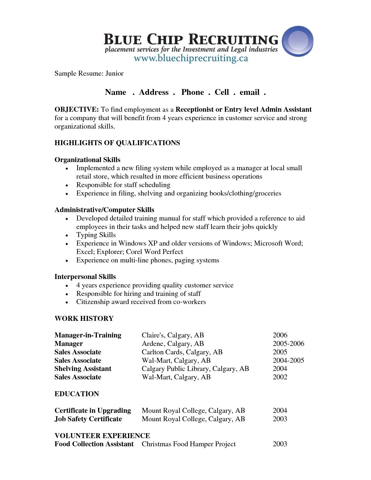 receptionist resume objective sample job samples good for ticketing executive career Resume Receptionist Job Objective For Resume