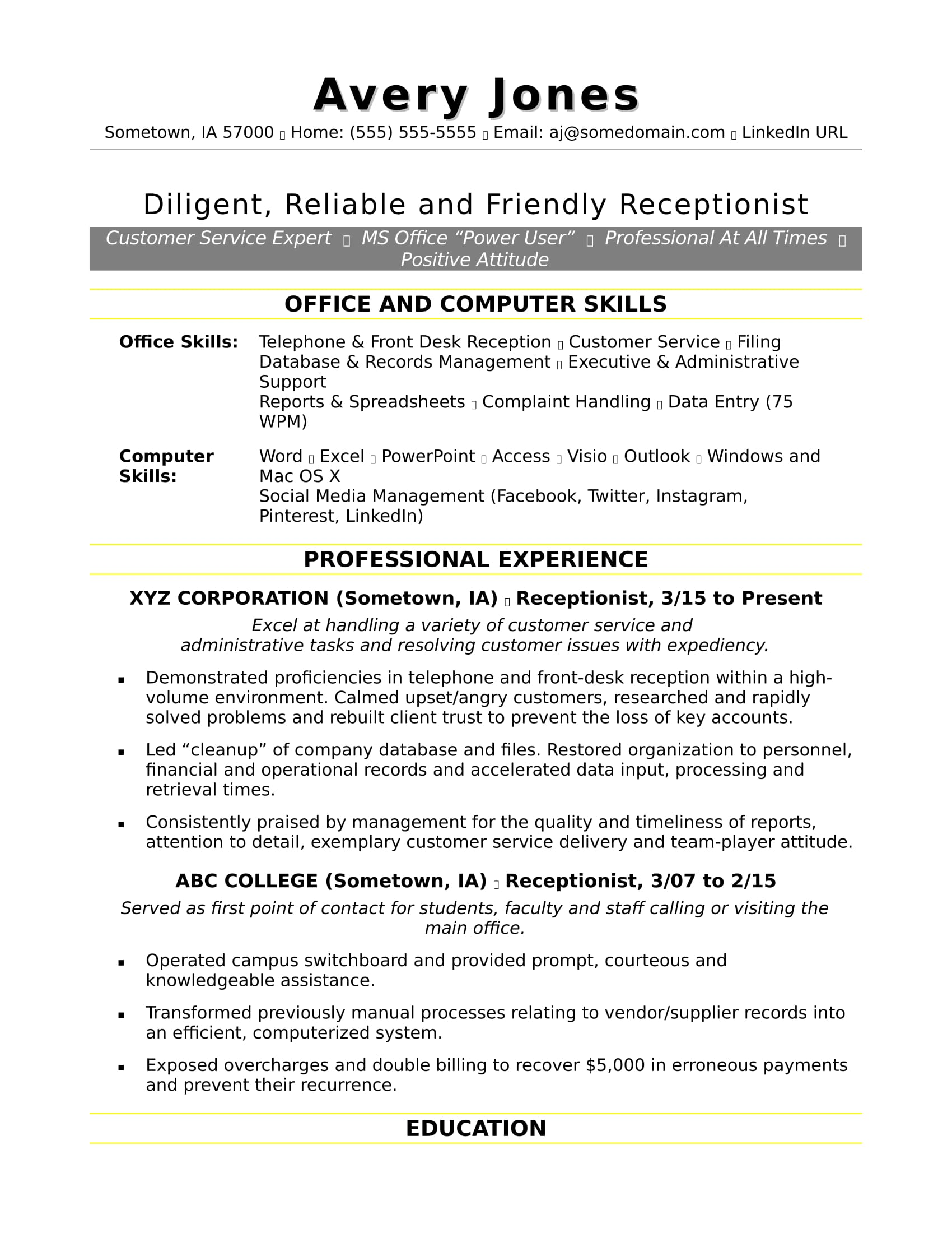 receptionist resume sample monster office and computer skills for construction experience Resume Office And Computer Skills For Resume