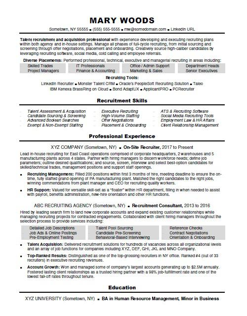 recruiter resume sample monster talent acquisition examples child psychologist Resume Talent Acquisition Resume Examples
