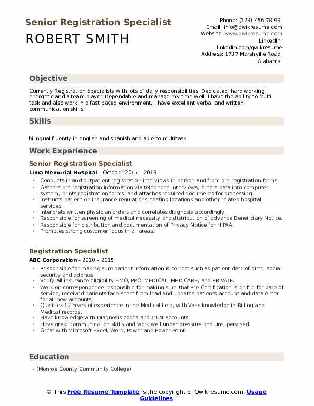 registration specialist resume samples qwikresume pdf examples about yourself enclosed Resume Registration Specialist Resume