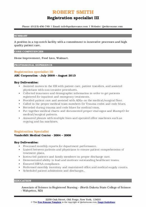 registration specialist resume samples qwikresume pdf microsoft word template copy and Resume Registration Specialist Resume