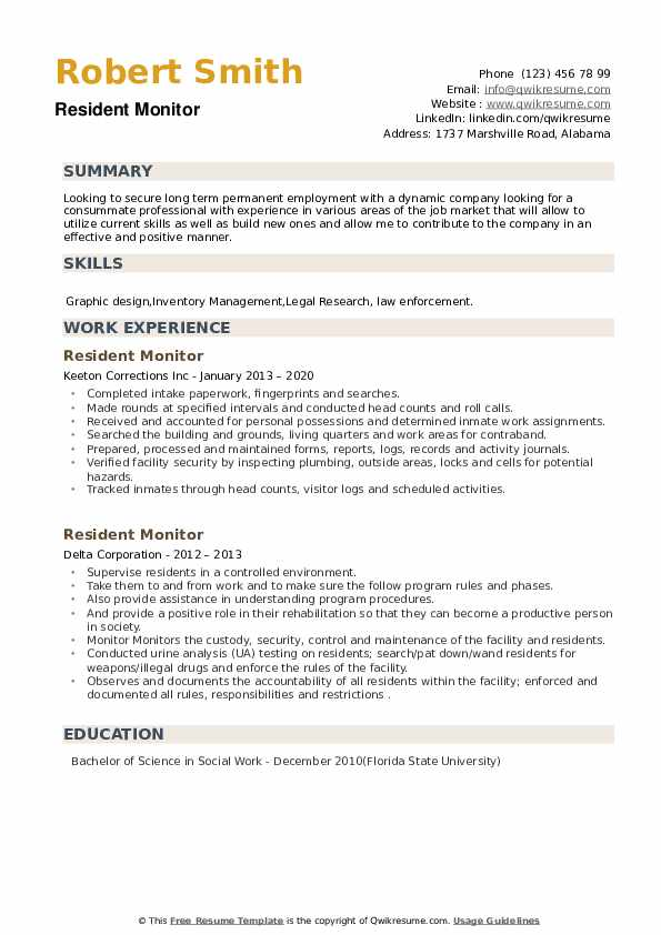 resident monitor resume samples qwikresume permanent pdf ssis format for law graduates Resume Resume Permanent Resident