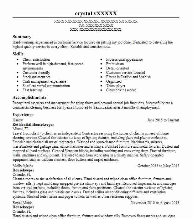 residential housekeeper resume example private residence glen cove new company format Resume Private Housekeeper Resume