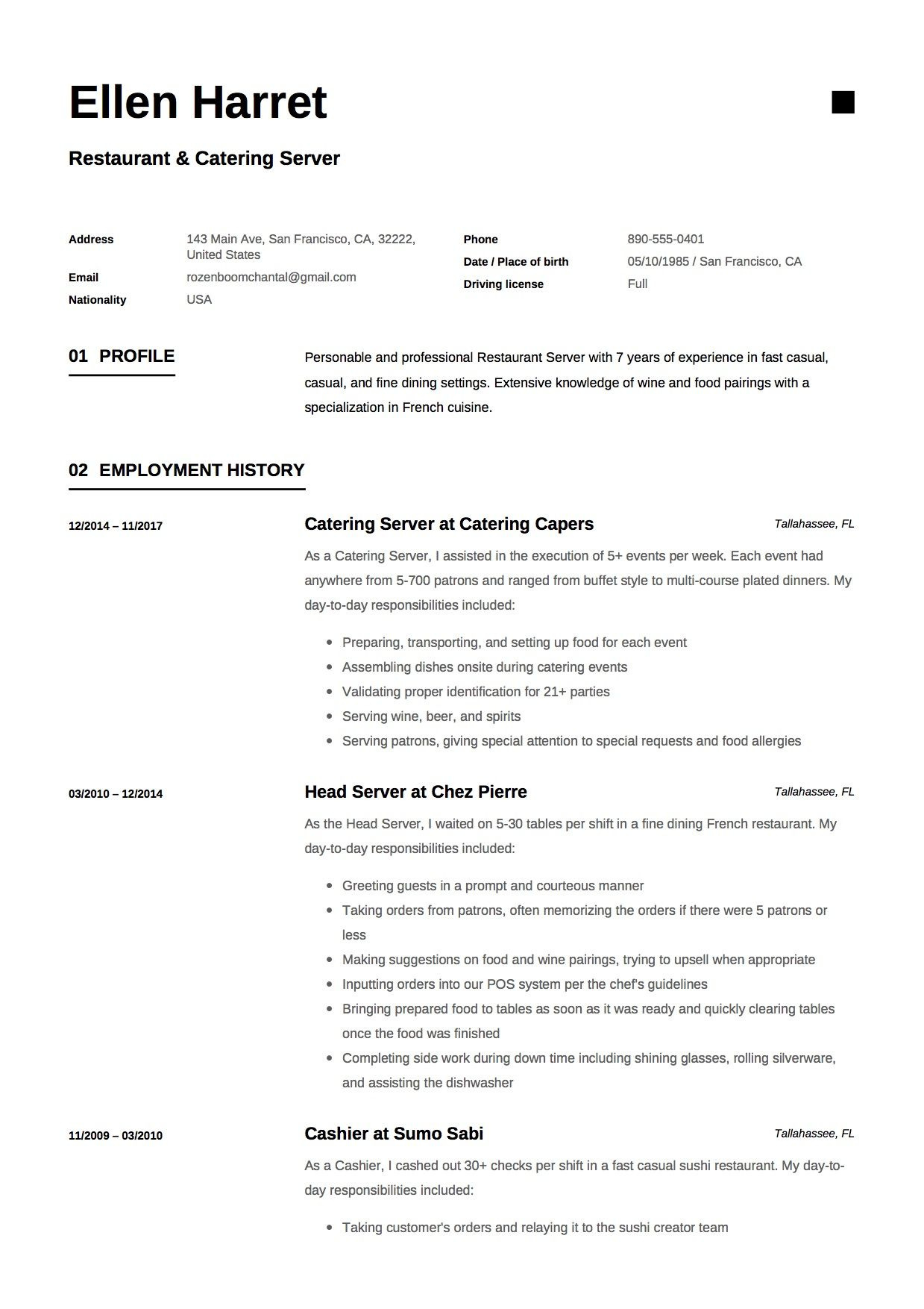 restaurant and catering resume sample example template cv server guide manager of Resume Example Of Catering Resume