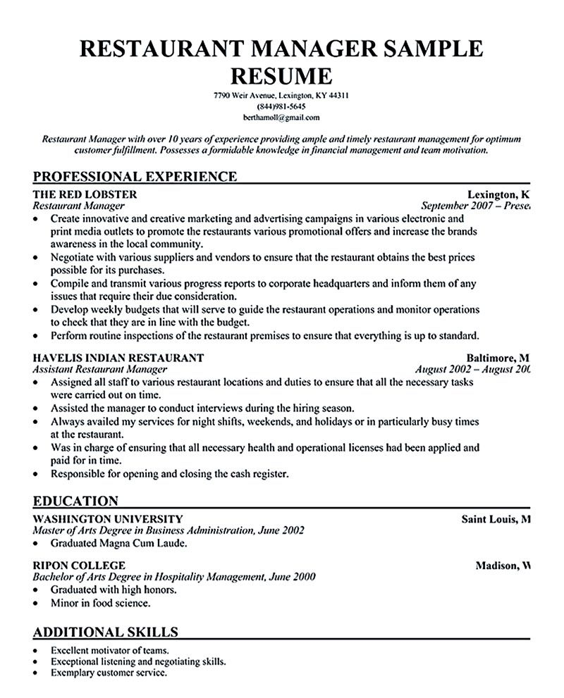 restaurant manager resume ease anyone is seeking for job related to managing man Resume Resume For Restaurant Manager Position