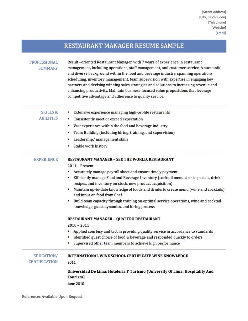 restaurant manager resume samplestemplate and tips by builders medium for position Resume Resume For Restaurant Manager Position