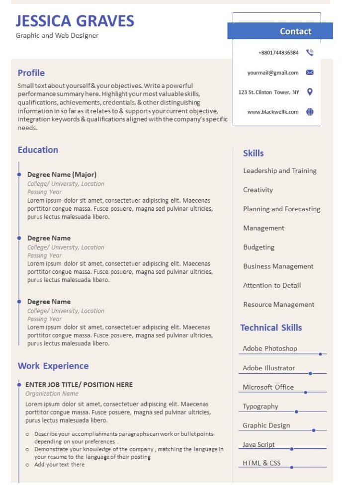 resume bio data format with job history powerpoint presentation pictures slide template Resume Resume And Bio Examples