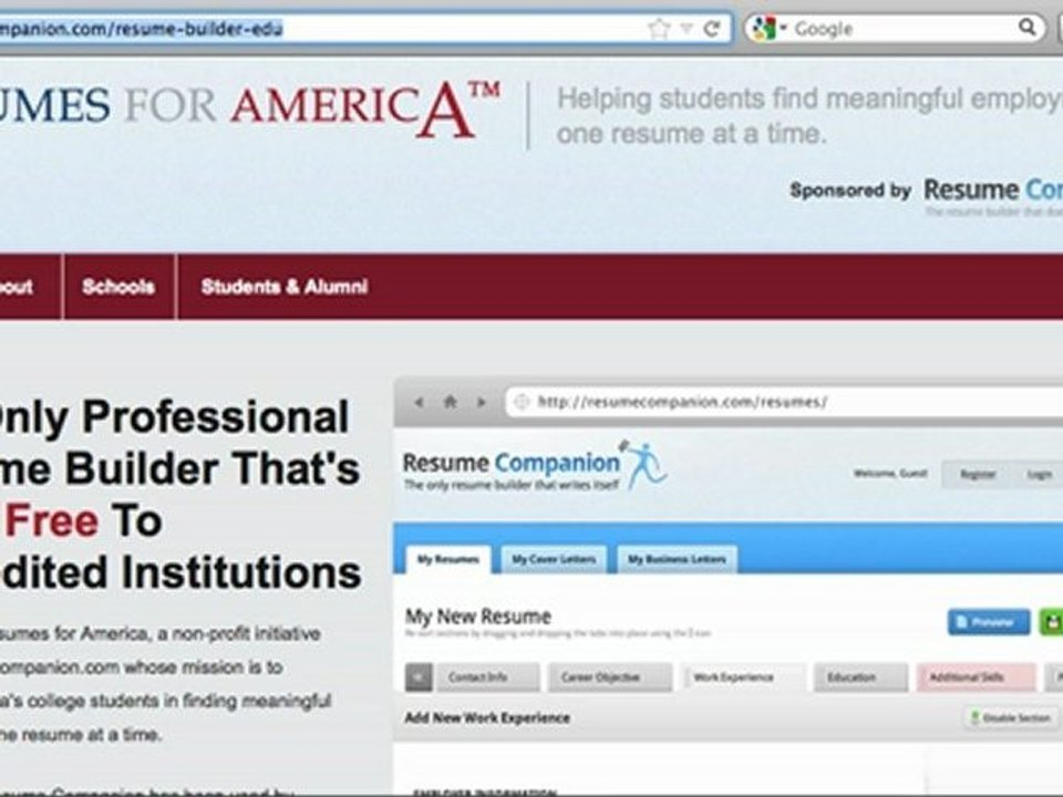 resume companion resumes for free builder students and veterans dailymotion sandwich Resume Builder Resume Companion