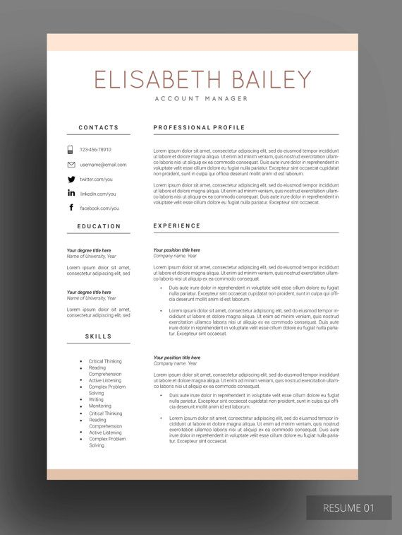 resume cv maker template design etsy cover letter for examples tips modern simple daycare Resume Modern Simple Resume Template