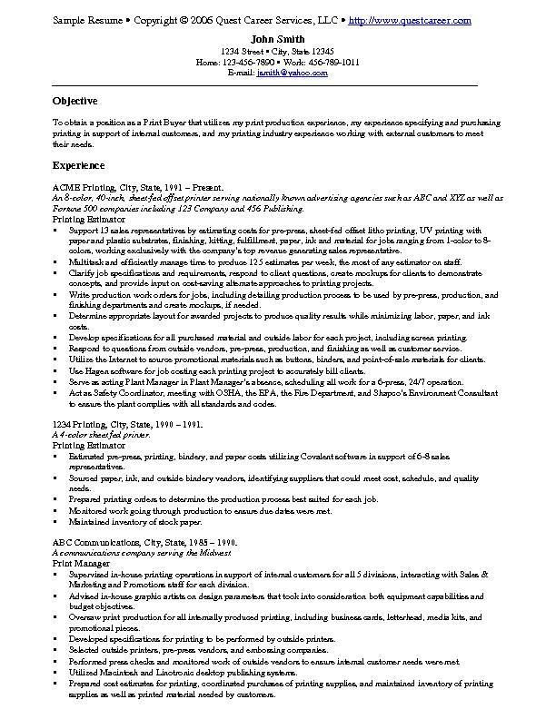 resume example cv printer experience examples of good skills for format film industry Resume Printer Experience Resume