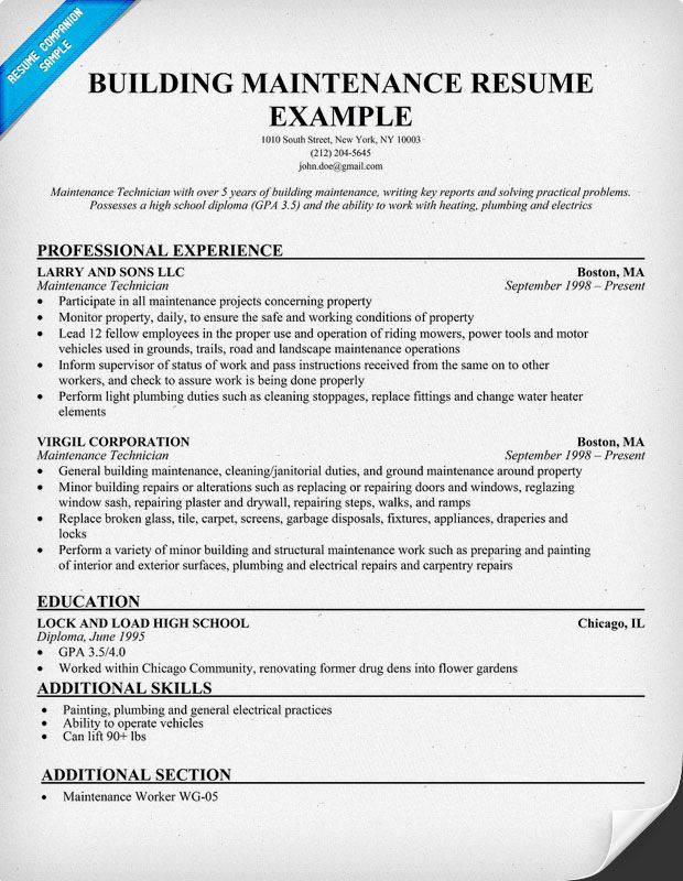 resume example for building maintenance resumesdesign accountant engineering examples etl Resume Maintenance Building Resume