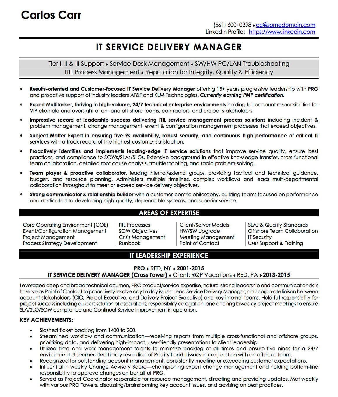 resume examples cv sample templates rso resumes delivery director it service manager Resume Delivery Director Resume