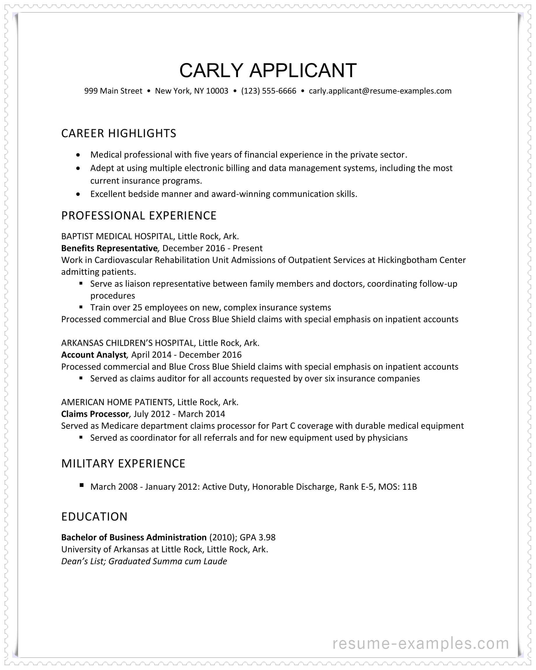 resume examples highlights sample health insurance industry example in ms word format job Resume Resume Highlights Sample