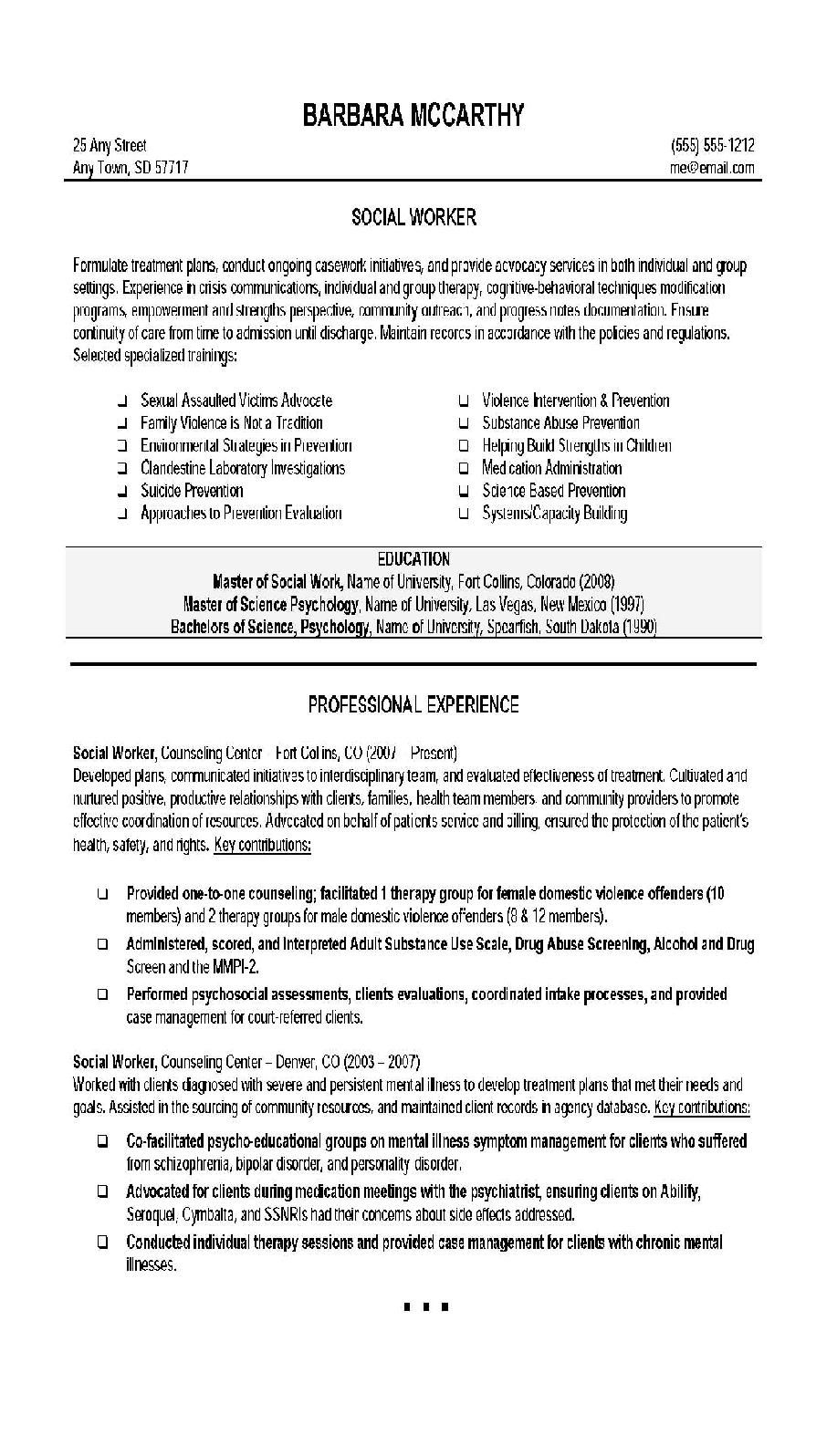 resume examples social work clinical objective statement templates free handyman listing Resume Social Work Resume Templates Free