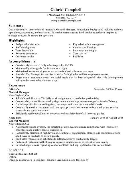 resume examples website is for resources and information restaurant management manager Resume Restaurant Resume Objective