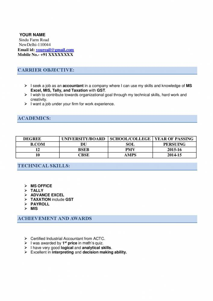 resume for articleship with examples now samples projects good declaration accountant Resume Good Declaration For Resume