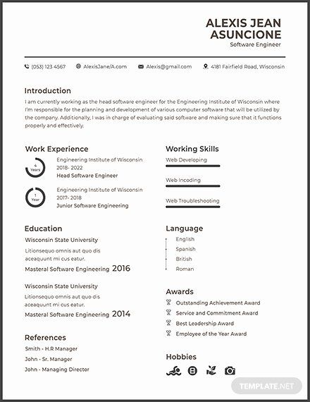 resume for google software engineer awesome free quality cv template templa best Resume Resume Software Download