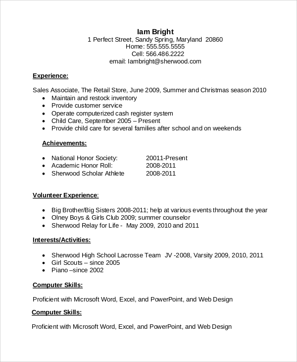 resume for job high school student first sample example holder interviews write your free Resume Student First Job Resume Sample