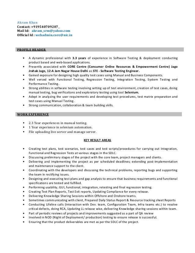 resume for software test engineer testing year experience action1 services procurement Resume Software Testing Resume For 3 Year Experience