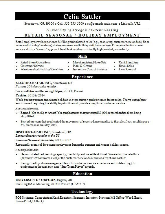 resume for summer job or seasonal work monster sample applying retail police officer non Resume Sample Resume For Applying Summer Job
