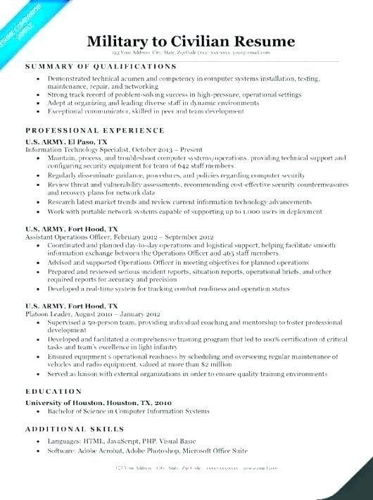 resume for veterans military veteran examples sample army res professional writing Resume Military Resume Objective