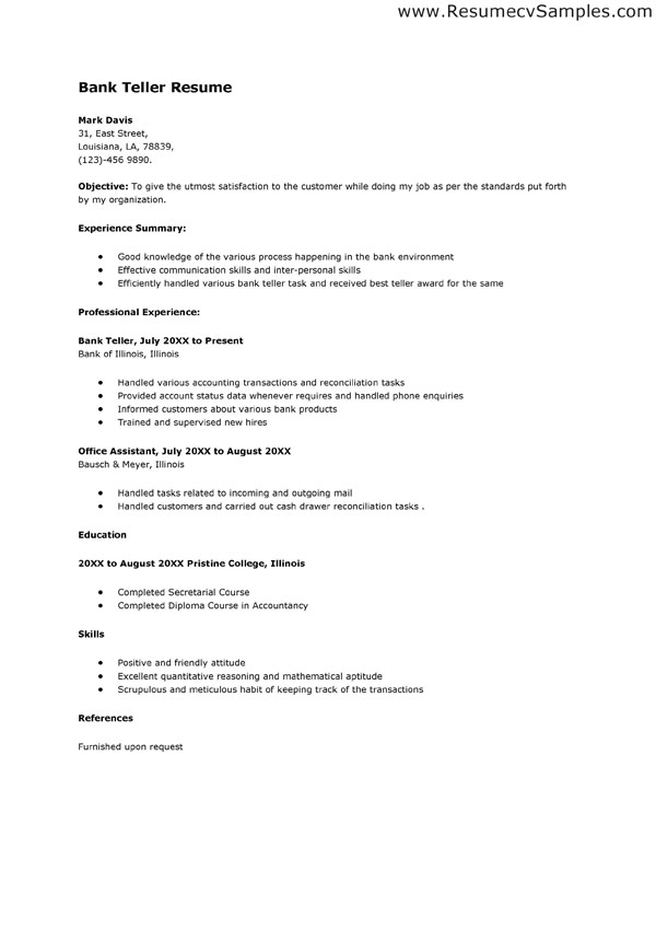 resume format for banking sector freshers bank job goals and objectives free samples Resume Resume Format For Bank Job