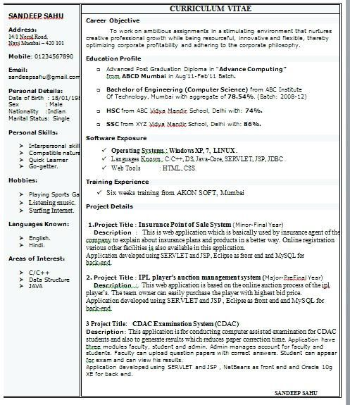 resume format for freshers one template single director of special events junk removal Resume Single Page Resume Template For Freshers