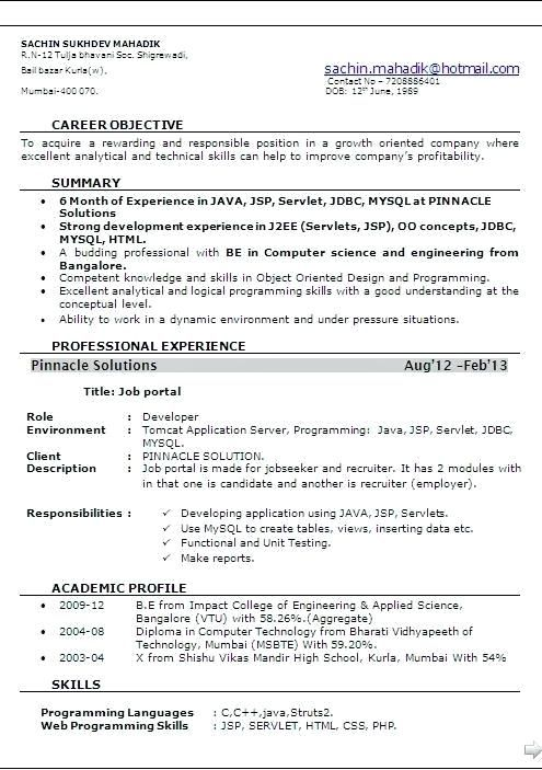 resume format for months experienced software engineer best sample new years experience Resume Sample Resume For 13 Years Experience