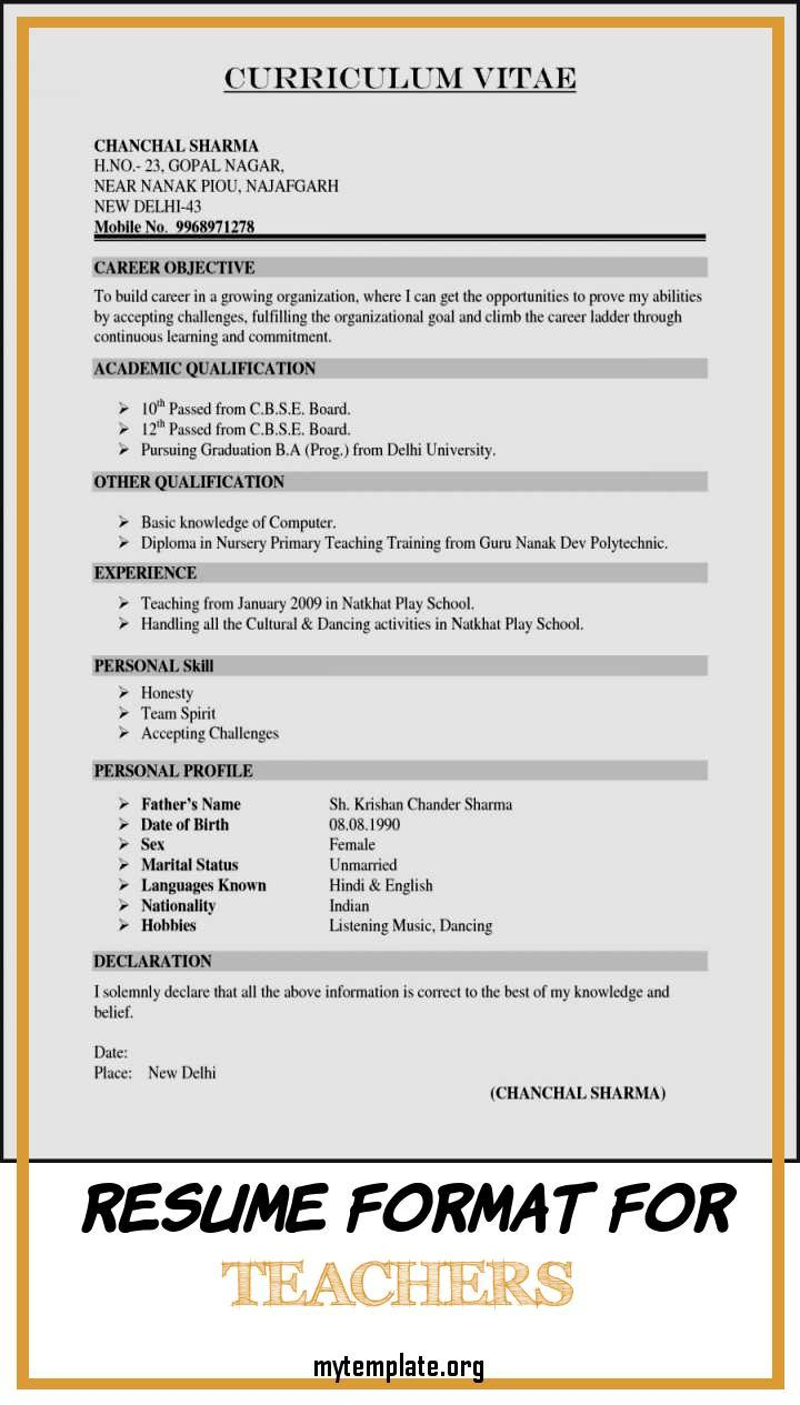 resume format for teachers free templates good declaration of curriculum cover letter pin Resume Good Declaration For Resume