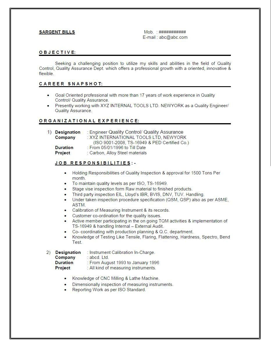 resume format for year experienced mechanical engineer it sample cover letter skills Resume Sample Resume Format For Experienced Mechanical Engineer