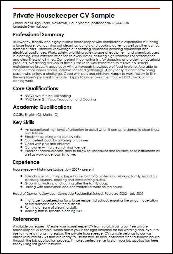 resume format housekeeping job examples samples sample outstanding professional for Resume Housekeeping Resume Sample