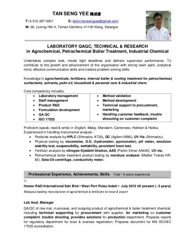 resume format jobstreet examples template professional for formulation and development Resume Resume Format For Formulation And Development