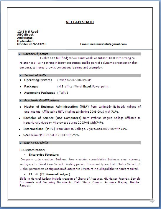 resume format mba year experience years of on sap fico free downloadable templates for Resume Years Of Experience On Resume