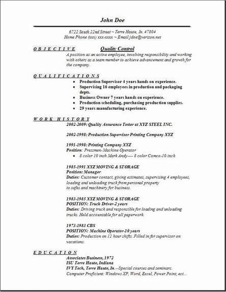 resume format quality control objective sample statement examples statements for make Resume Power Statements For Resume
