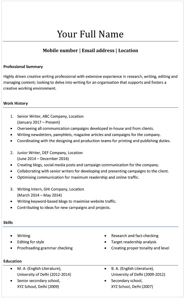 resume formats choose the one that right for you monsterindia indian format examples Resume Indian Resume Format Examples