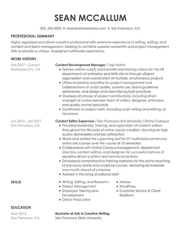 resume formats guide my perfect professional examples content development manager Resume Professional Resume Examples 2020