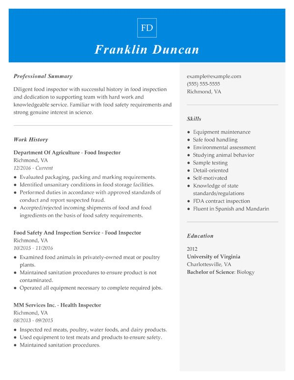 resume formats guide my perfect standard professional format combination food inspector Resume Standard Professional Resume Format