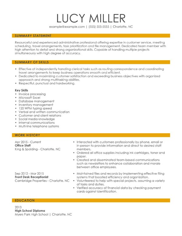 resume formats minute guide livecareer combination samples office staff packaging Resume Combination Resume Samples 2020