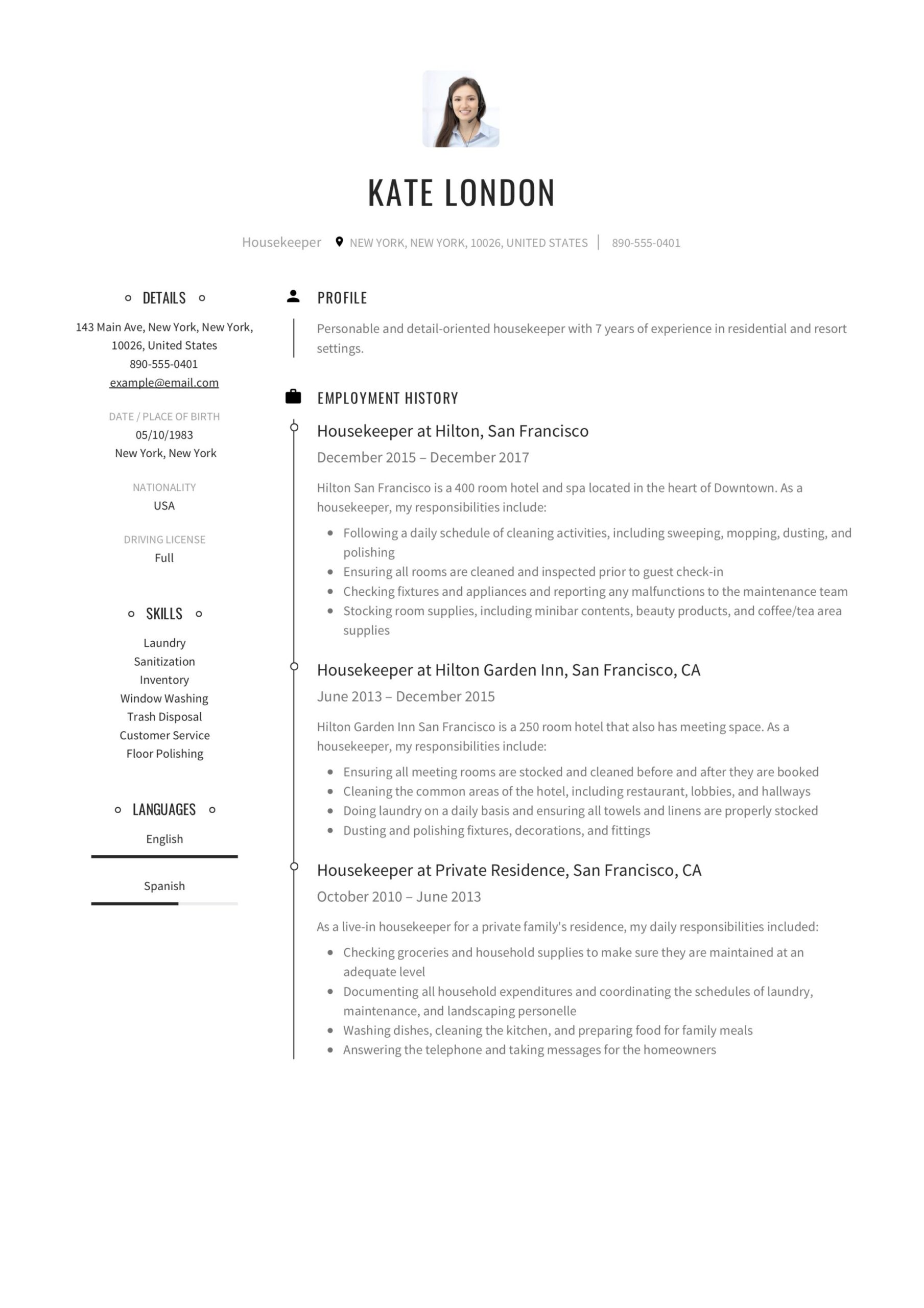 resume guide housekpeer samples pdf private housekeeper kate london objective example for Resume Private Housekeeper Resume