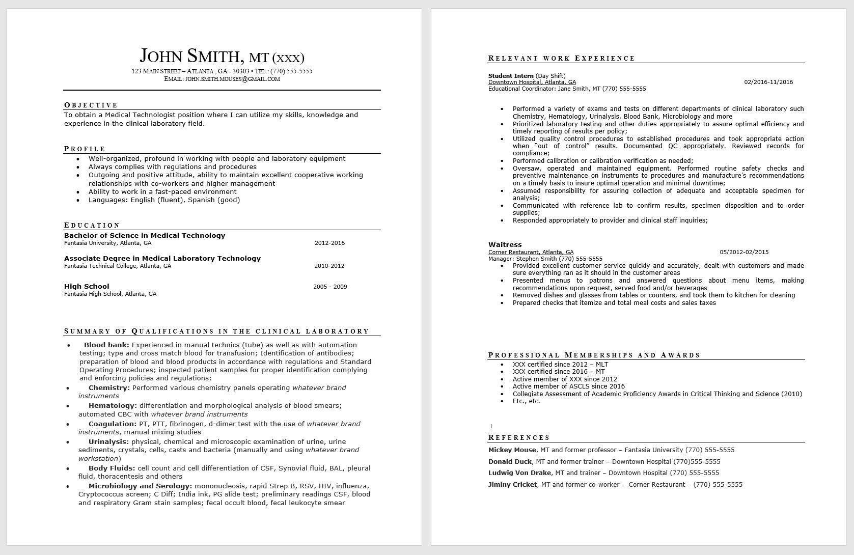 résumé guide society for clinical laboratory science state sample resume medical Resume Sample Resume For Medical Technologist